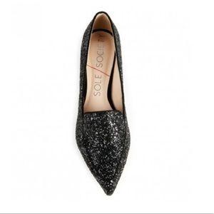 NWT Sole Society Black Glitter Pointed Toe Flats